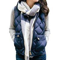 Men's Vests Women Stand Collar Sleeveless Coat Waistcoat Solid Thin Argyle Down Jacket Vest Winter Warm Slim Fleece Zipper Parka Nice