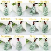 Birma Jadeit Wisiorek Ręcznie Rzeźbione Lucky Amulet Chiński Zodiak Jade Naszyjnik z łańcuchem dla mężczyzn Kobiety Prezent Drop Shipping
