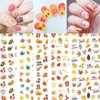 Etiquetas engomadas de las uñas de la acción de gracias 3D otoño otoño de las uñas Accesorios de los accesorios de las calcomanías autoadhesivas de arce de la hoja de arce de la calabaza de Turquía Pegatina