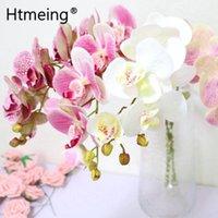 Htmeing artificial orquídea látex real toque flores longas hastes ramos decoração de casamento acessórios
