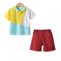 Boys Clothing Sets Baby Suits Kids Wear Children Clothes Summer Cotton Short Sleeve T-Shirt Top Shorts 2Pcs B6722