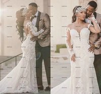 Romantic Off The Shoulder Mermaid Wedding Dresses Illusion Back African Nigerian Long Sleeve Appliques Lace Bridal Wedding Dress