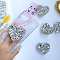 Cell Phone Mounts & Holders Luxury Love Heart Full Of Diamonds Holder Foldable Stand For Mobile Tablets Bracket Grip