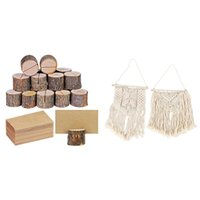 Tapestries 1 Set Rustic Style Wooden Card Box Round Table Digital Bracket & 2 Pcs Macrame Wall Hanging Small Art Woven Decor