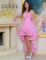 2021 New Design High Low Girls Short Prom Evenig Party Dresses Strapless A Line Ruffles Cocktail Home Coming Dresses For Juniors Teenagers