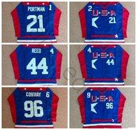 Barato Patos poderosos D2 Equipe EUA Hóquei 21 Dean Portman Jersey 44 Fulton Reed 96 Charlie Conway Costurada Blue Jerseys Grátis