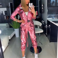 Women's Jumpsuits & Rompers Fashion Long Sleeve Belt Silver Jumpsuit Women Streetwear Capped Zipper Solid Romper Casual Sexy Overalls