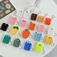 Party Favor Fidget Toys square Silicone Coin Purse Keychain Bubble Music Relax Decompression Toy Storage Kawaii Bag Pendant Gift