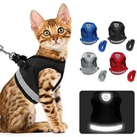 Cat Collars & Leads Harness Vest And Car Seat Belt Adapter Adjustable Reflective Soft Mesh For Kitty Puppy Escape Proof