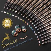 20 Renk Boyama Kalemler Suluboya Pan Akrilik Boya Için DIY Albümü Art Rock Kartı Yapımı Metal Malzemeleri