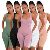 Summer Mujeres Mamelucos Bodycon Shorts Sumpsuits Sólido Sin mangas Body Body Skinny Playsuits Casual Sequre Cuello Negro Monos Jumpers 5353