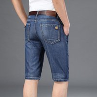 Jeans masculinos plus size 40 42 homens shorts 2021 verão slim encaixe em linha reta 5 bolso de alta qualidade algodão modal confortável jean shor