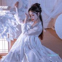 BASSA BIANCA HANFU DONNA DONNA CINESE TRADIZIONALE TRADIZIONALE Abito da fata Migliorato Principessa moderna Costume da ballo folk