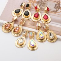 Fashion Geometric Big Crystal Drop Dangle Earrings Women Girls Charm Bridal Wedding Jewelry Gift Accessories