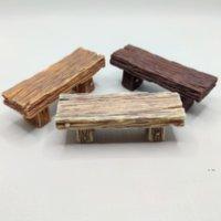 Linda silla de madera heces jardín de hadas miniaturas decoración pareja banco acción figurilla bricolaje micro gnomo terrario regalo fwb7549