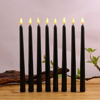 촛불 6 블랙 LED 생일 촛불, 노란색 / 따뜻한 흰색 플라스틱 불꽃없는 깜박 거리는 배터리 할로윈 운영