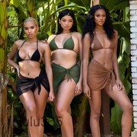 النساء رياضية 2021 صيف جديد المايوه مصمم أزياء المرأة نقية اللون شاشة منظور السرة وعارية الذراعين مثير شاطئ ثلاث قطع بدلة Lulu365