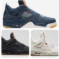 2021 Jordan 4s x Levis basketball shoes di alta qualità 4 denim travis blu nero bianco denim basket scarpe da uomo 4s jeans blu jeans sneakers sportivi con scatola US7-13
