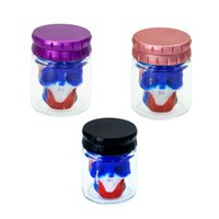 Smoking Colorful Skull Silicone Stash Case Herb Tobacco Multi-function Spice Miller Grinder Crusher Grinding Chopped Hand Muller Cigarette Glass Storage Tank Jars