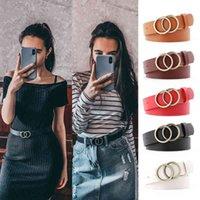 Double Ring Belts for Women Fashion Jeans Belt Pu Leather Metal Buckle Heart Pin Waist Lady Girls Leisure Waistband