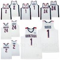 NCAA Gonzaga Bulldogs 대학 농구 2 Drew Timme Jersey University 24 Corey Kispert 1 Jalen Suggs 통기성 팀 멀리 화이트 컬러