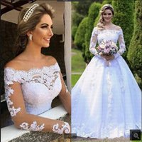 Vestidos De Noiva 2021 lace appliques Wedding Dresses Off Shoulder Long Sleeve Beaded Arabic Robe De Mariage Bridal Gown modest wedding gown