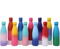 12 Colors! 500ml Cola Bottles in Gradient Color Stainless Steel Double Wall Insulated Vacuum 17oz Water Bottle Ombre Rainbow Colored Sports Camping Travel Mug Custom