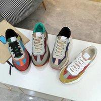 2021 Lady Suela gruesa Suela de zapatillas Casual Zapatillas de deporte de la zapatilla de deporte Plataforma de cordones Zapatos de las mujeres de ocio Moda plana lona de gran tamaño