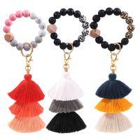 Beaded Keychain Party Favor Leather tassel wood bead key-chain Beads tring Key Ring Chain Silicone Women Wrist Strap Bracelet DD563