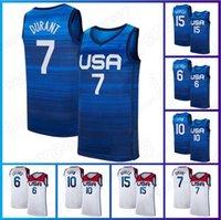 Kevin 7 Durant Basketball Devin 15 Booker Jersey 23 Michael 6 Damian Lillard Jersey 10 Jayson Tatum 2020 Herren Nationalmannschaft USA Sommer Olympia Blau Weiß Trikot