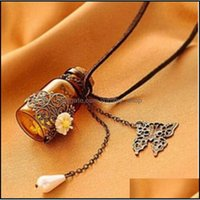 """Necklaces & Pendants Jewelryglass Bottle Aromatherapy Essential Oil Diffuser Necklace Locket Pendant Jewelry With 24"""" Chain And 3 Washable N"""