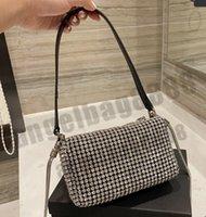 2021 럭셔리 디자이너 브랜드 수석 크리스탈 다이아몬드 가방 패션 어깨 핸드백 고품질 겨드랑이 체인 전화 가방 지갑 메탈릭 totes 기질
