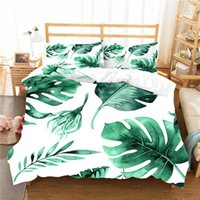 Bedding Sets Tropical Plants Set Leaves Coconut Tree Duvet Cover Flowers Home Textiles 2 3 Pieces Red Green White Bedclothes