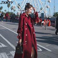 JXMYY a vento a vento da donna a metà lunghezza 2021 nuovo piccolo stile britannico sciolto sopra il ginocchio rosso primavera e autunno rivestimento in autunno