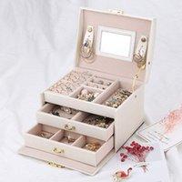 Schmuckkasten Hülle / Boxen / Make-up-Box, Schmuck- und Kosmetik-Schönheitsfall mit 2 Schubladen 3 Schichten 187 Q2