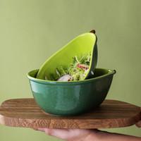 Placa de aguacate creativa linda vajilla de cerámica platos para el hogar plato de cuenco de aguacado ensalada de fruta placa de fruta conjuntos