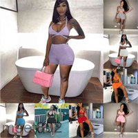 Women tracksuit Outfits 2021 summer Designer Fashion women's V neck pure color sexy suspender Leisure Sports Shorts Two-piece sets
