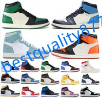 "Basketball Sapatos Jumpman 1 1s Og High Pine Green Preto Corte Roxo Royal Come Tee NC Obsidian Unc Game Sneakers Treinador ""Bie"