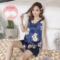 Plus Size Summer Silk Satin Sexy SleevelVest Pajama Sets for Women Shorts Sleepwear Suit Homewear Pijama Mujer Home Clothes X0526