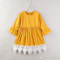 Girls Dress Princess Costume Long Sleeve Cotton Yellow Dresses Cute Baby Kid Clothes 2021 Girl Party skirt