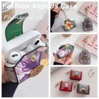 AirPodsのためのファッションデザイナーのエアポッドケース1 2 Pro 3カバーバッグケースアンチロストフッククラスプキーホルダー2333