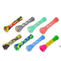 Silicone Smoking Pipe Glass Bongs 3.4 inches Cigarette Hand Pipes Portable Mini Tobacco Cigarettes Holder HWA7474