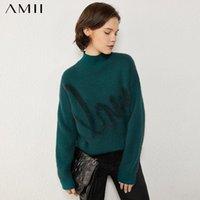 المرأة البلوزات AMII بساطتها الخريف الشتاء الأزياء الياقة المدورة سترة السببية إلكتروني فضفاض الإناث البلوز قمم 12040491