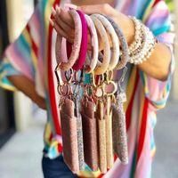 DVACAMAN 2019 мода блестящий силикон o Ключевая цепочка Круг для женщин Девушки PU кожаные брюки брелок Аксессуары оптом подарки J0306