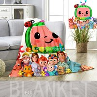 Cocomelon Kids Cartoon Blanket JJ 3D Printing Flannel Blankets Bed Sheet Nap Quilt Cover Beddings CoCo Melon Carpet Kids Gift DD