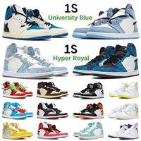 2021 남자 J Balvin x Jumpman 1 High OG University Blue Shoes 1S 컬러 Vibras 염료 소나무 하이퍼 로얄 핑크 여성 스니커즈 실버 발가락 Travis 트레이너 법원 보라색 스포르 N7JQ #