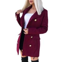 Women's Wool & Blends Women Trench Coat Solid Color Slim Cardigan Double-breasted Turn-down Collar Woolen Lady Jacket For Work