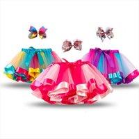Bebek Kız Tutu Gökkuşağı Renk Kadın Etek Küçük Prenses Yay Tül Balo Ballet Dans Çocuk Okul Performansı
