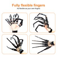 Halloween Articulated Fingers Festival Party Supplies Black Metal Cosplay Accessories Extension Gloves Claws Extender Wearable Scary Bones Claw Wholesale A02