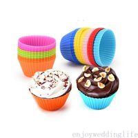 12 teile / satz Silikon Kuchenform Runde geformte Muffin Cupcake Backformen Küche Kochen Backformen Maker DIY Kuchen Dekorieren Werkzeuge